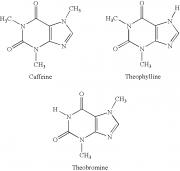 Caffeine, theobromine, theophylline, molecule
